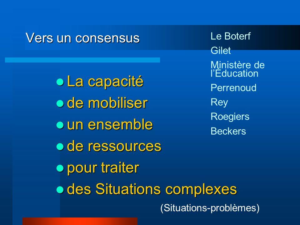Vers un consensus La capacité La capacité de mobiliser de mobiliser un ensemble un ensemble de ressources de ressources pour traiter pour traiter des