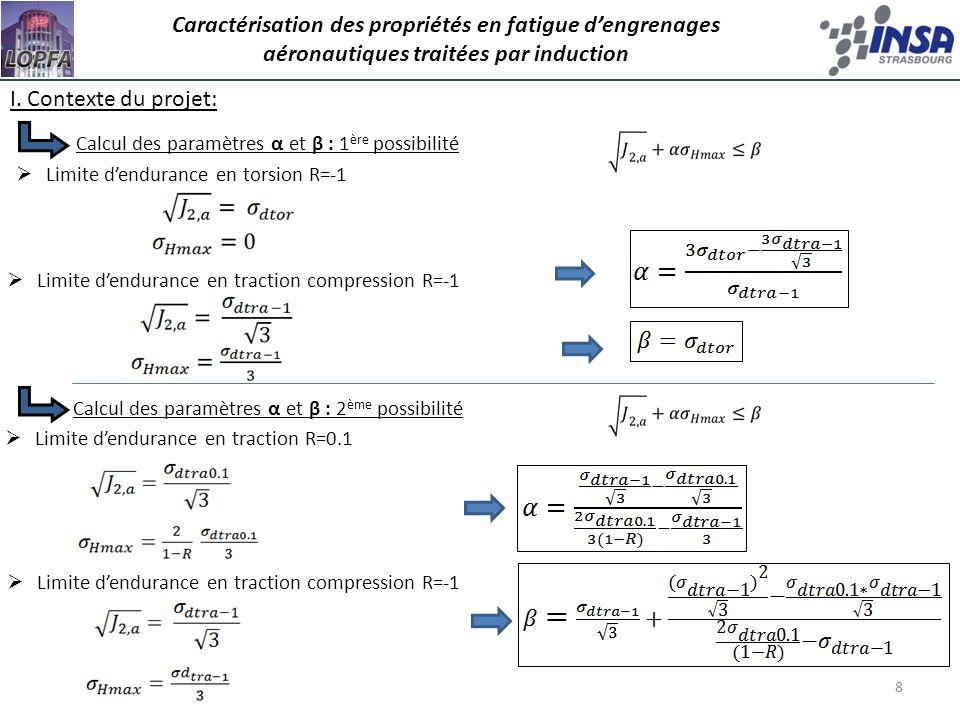 8 Calcul des paramètres α et β : 1 ère possibilité Limite dendurance en traction compression R=-1 Limite dendurance en torsion R=-1 Limite dendurance