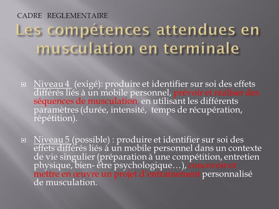 Niveau 4 (exigé): produire et identifier sur soi des effets différés liés à un mobile personnel, prévoir et réaliser des séquences de musculation, en