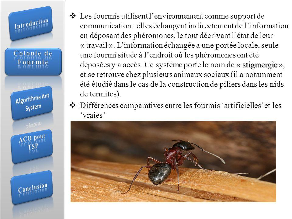 stigmergie Les fourmis utilisent lenvironnement comme support de communication : elles échangent indirectement de linformation en déposant des phéromo