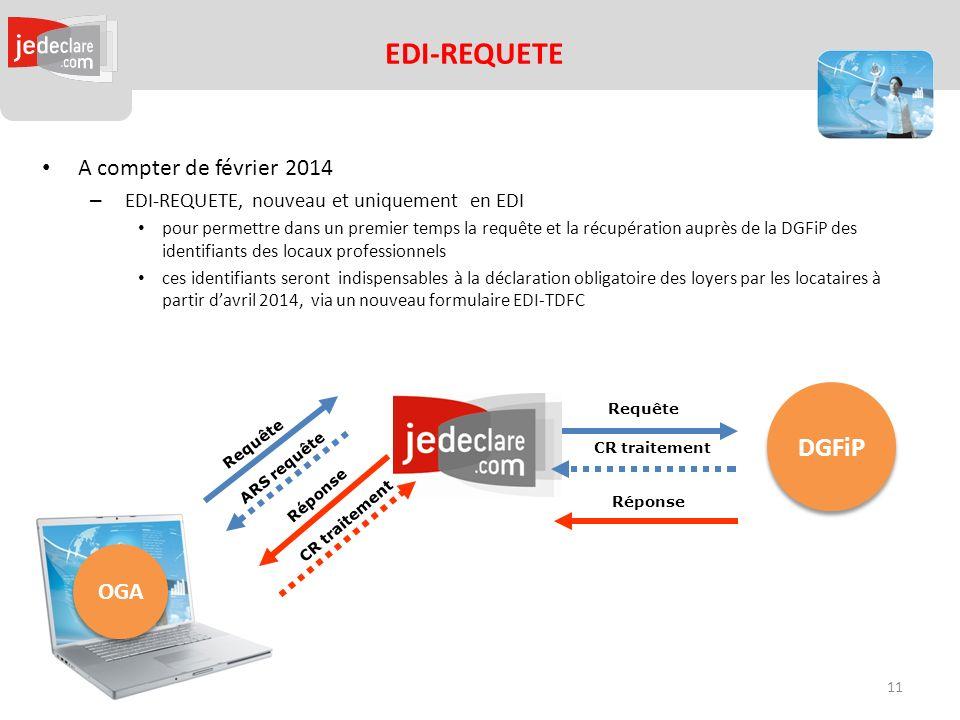OGA EDI-REQUETE Requête Réponse Requête Réponse ARS requête CR traitement DGFiP A compter de février 2014 – EDI-REQUETE, nouveau et uniquement en EDI pour permettre dans un premier temps la requête et la récupération auprès de la DGFiP des identifiants des locaux professionnels ces identifiants seront indispensables à la déclaration obligatoire des loyers par les locataires à partir davril 2014, via un nouveau formulaire EDI-TDFC CR traitement 11