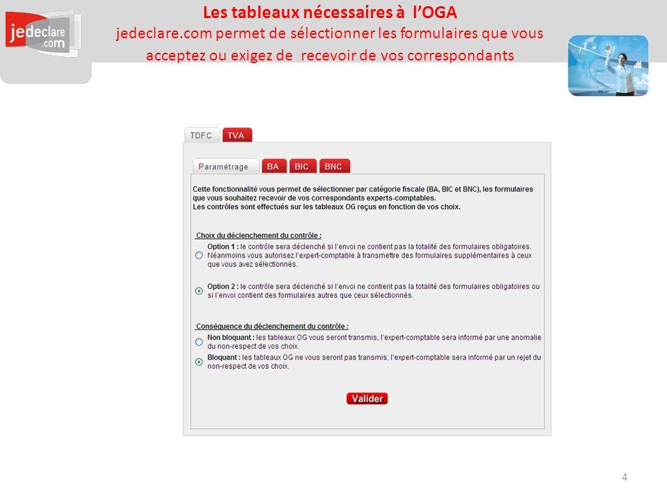Les tableaux nécessaires à lOGA jedeclare.com permet de sélectionner les formulaires que vous acceptez ou exigez de recevoir de vos correspondants 4