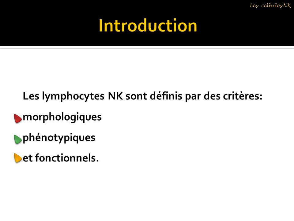 Les cellules NK Les lymphocytes NK sont définis par des critères: morphologiques phénotypiques et fonctionnels.