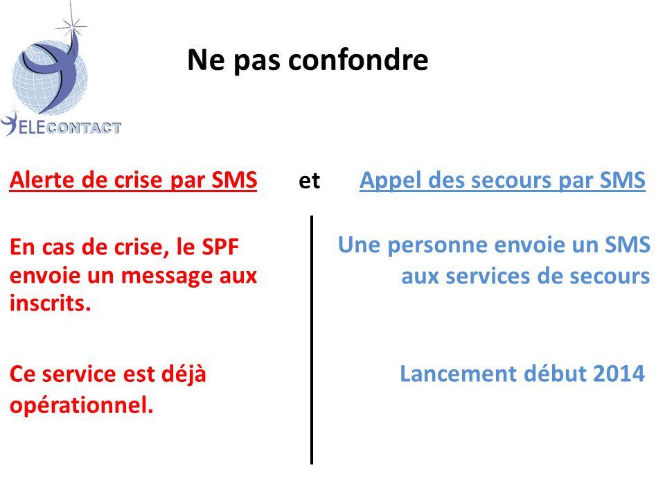 Ne pas confondre Appel des secours par SMS Ce service est déjà opérationnel.