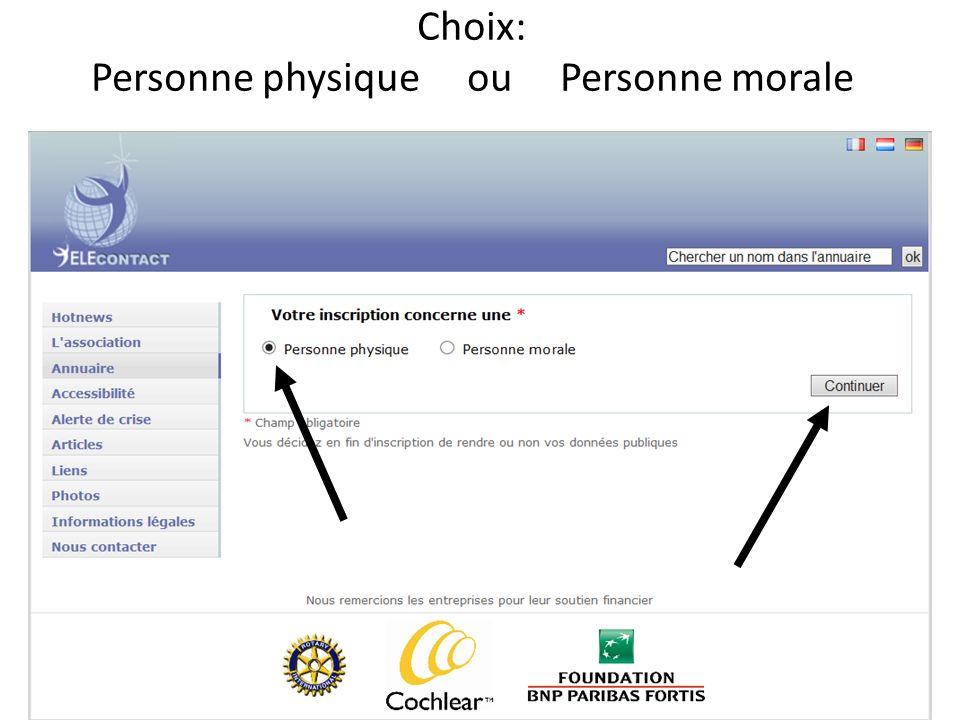 Choix: Personne physique ou Personne morale