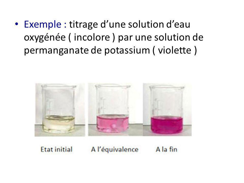 Exemple : titrage dune solution deau oxygénée ( incolore ) par une solution de permanganate de potassium ( violette )