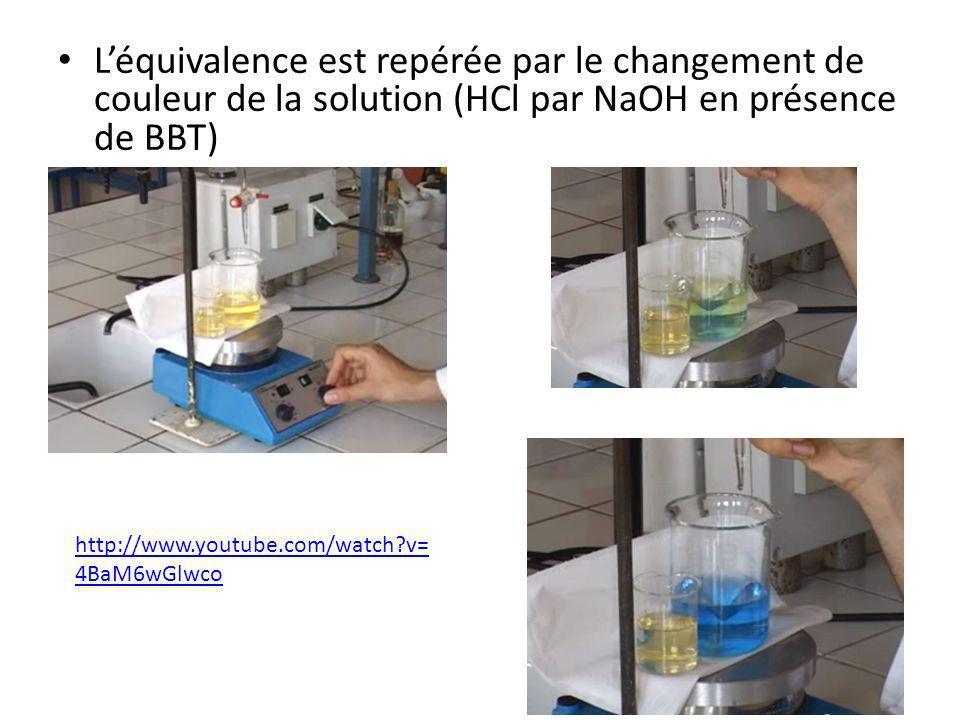 Léquivalence est repérée par le changement de couleur de la solution (HCl par NaOH en présence de BBT) http://www.youtube.com/watch?v= 4BaM6wGlwco