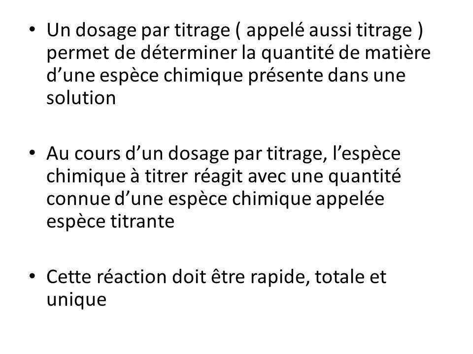 Un dosage par titrage ( appelé aussi titrage ) permet de déterminer la quantité de matière dune espèce chimique présente dans une solution Au cours du
