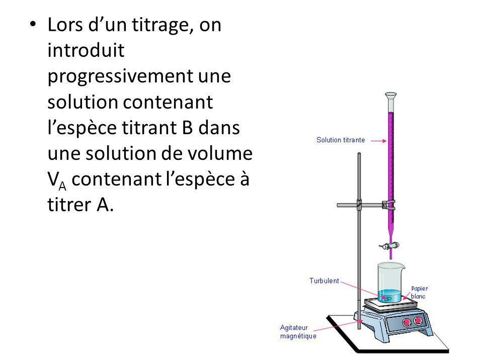 Lors dun titrage, on introduit progressivement une solution contenant lespèce titrant B dans une solution de volume V A contenant lespèce à titrer A.