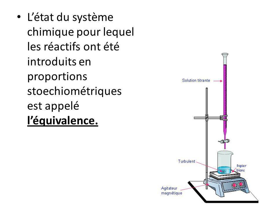 Létat du système chimique pour lequel les réactifs ont été introduits en proportions stoechiométriques est appelé léquivalence.