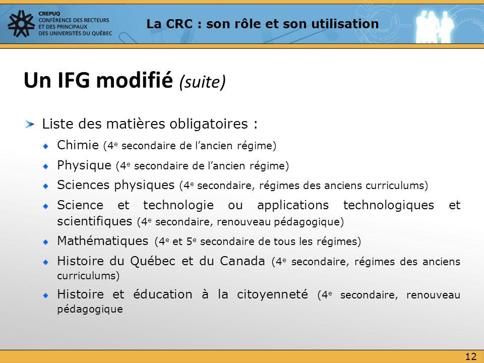 Liste des matières obligatoires : Chimie (4 e secondaire de lancien régime) Physique (4 e secondaire de lancien régime) Sciences physiques (4 e second