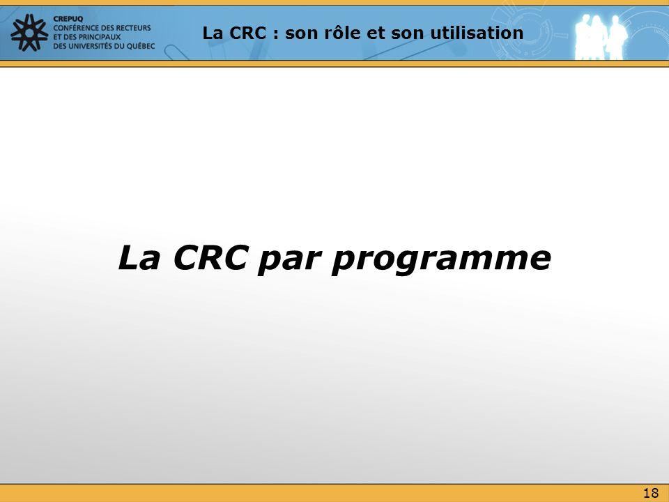 La CRC par programme 18 La CRC : son rôle et son utilisation