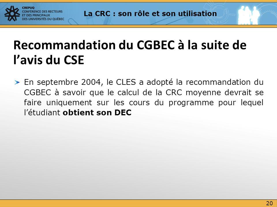 En septembre 2004, le CLES a adopté la recommandation du CGBEC à savoir que le calcul de la CRC moyenne devrait se faire uniquement sur les cours du p