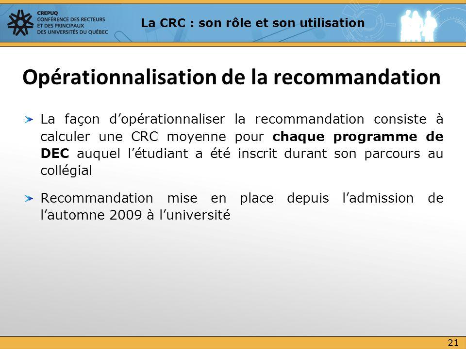 La façon dopérationnaliser la recommandation consiste à calculer une CRC moyenne pour chaque programme de DEC auquel létudiant a été inscrit durant so