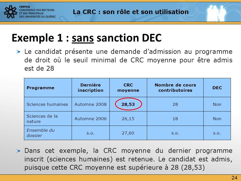 Dans cet exemple, la CRC moyenne du dernier programme inscrit (sciences humaines) est retenue. Le candidat est admis, puisque cette CRC moyenne est su