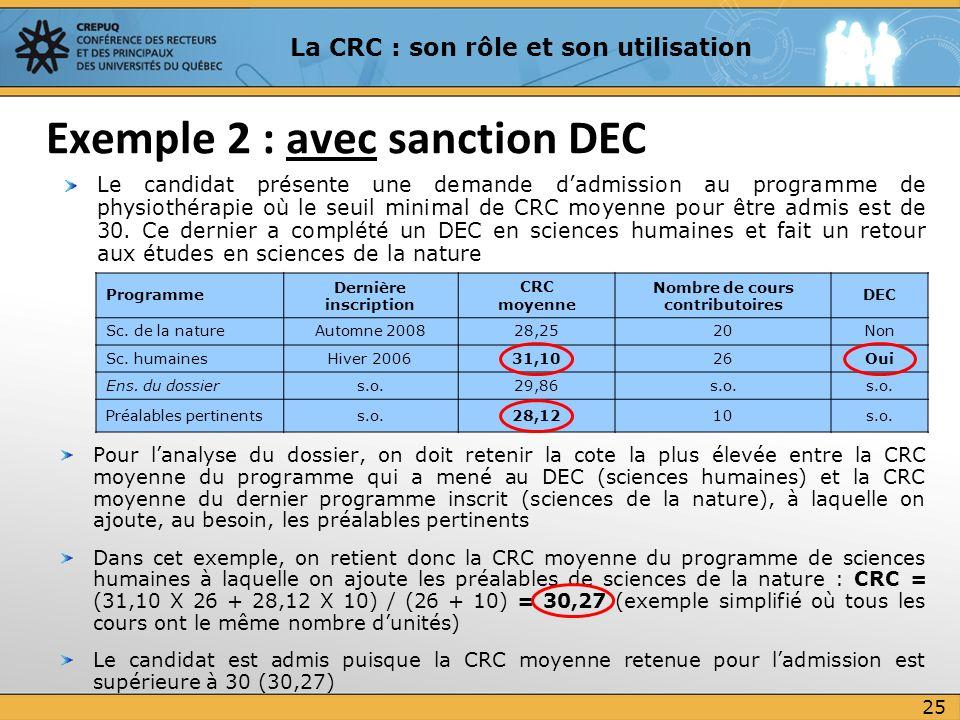Pour lanalyse du dossier, on doit retenir la cote la plus élevée entre la CRC moyenne du programme qui a mené au DEC (sciences humaines) et la CRC moy