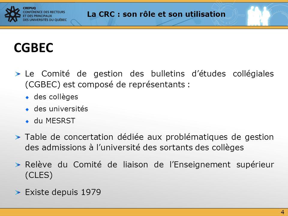 Pour lanalyse du dossier, on doit retenir la cote la plus élevée entre la CRC moyenne du programme qui a mené au DEC (sciences humaines) et la CRC moyenne du dernier programme inscrit (sciences de la nature), à laquelle on ajoute, au besoin, les préalables pertinents Dans cet exemple, on retient donc la CRC moyenne du programme de sciences humaines à laquelle on ajoute les préalables de sciences de la nature : CRC = (31,10 X 26 + 28,12 X 10) / (26 + 10) = 30,27 (exemple simplifié où tous les cours ont le même nombre dunités) Le candidat est admis puisque la CRC moyenne retenue pour ladmission est supérieure à 30 (30,27) Exemple 2 : avec sanction DEC 25 La CRC : son rôle et son utilisation Le candidat présente une demande dadmission au programme de physiothérapie où le seuil minimal de CRC moyenne pour être admis est de 30.