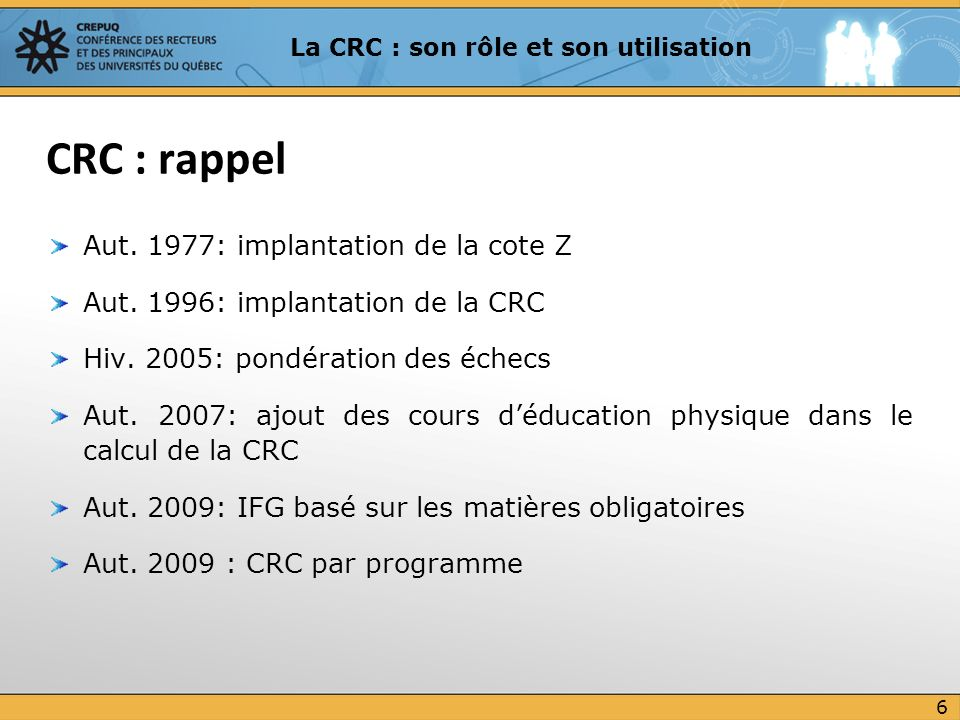 Aut. 1977: implantation de la cote Z Aut. 1996: implantation de la CRC Hiv. 2005: pondération des échecs Aut. 2007: ajout des cours déducation physiqu