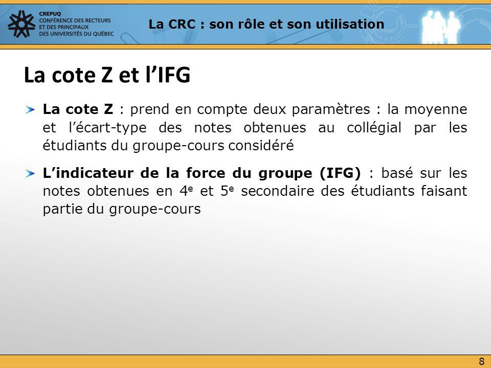 La cote Z ramène sur une même échelle les évaluations faites par les professeurs tout en respectant les classements : en conséquence, elle élimine toutes les différences initiales entre les groupes-cours au collégial LIFG ajoute à la cote Z une correction qui tient compte de la force du groupe-cours : plus un groupe-cours est composé délèves forts, plus la cote Z de chacun des étudiants de ce groupe sera corrigée à la hausse et inversement La cote Z et lIFG (suite) 9 La CRC : son rôle et son utilisation