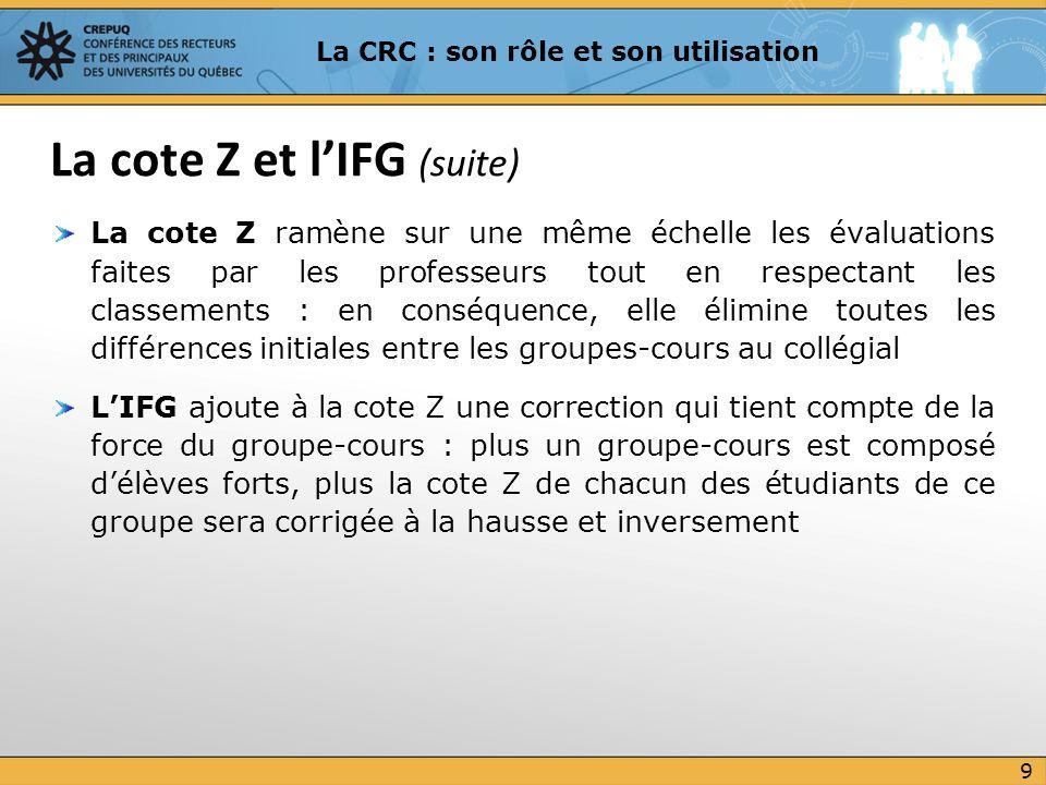 CRC = (Cote Z + IFG + 5) X 5 Les nombres 5 dans la formule font en sorte que la CRC soit positive et varie entre 0 et 50 (moyenne aux alentours de 25) Formule de la CRC 10 La CRC : son rôle et son utilisation