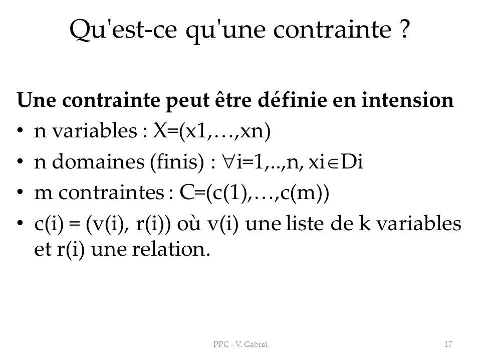 Qu'est-ce qu'une contrainte ? Une contrainte peut être définie en intension n variables : X=(x1,…,xn) n domaines (finis) : i=1,..,n, xi Di m contraint