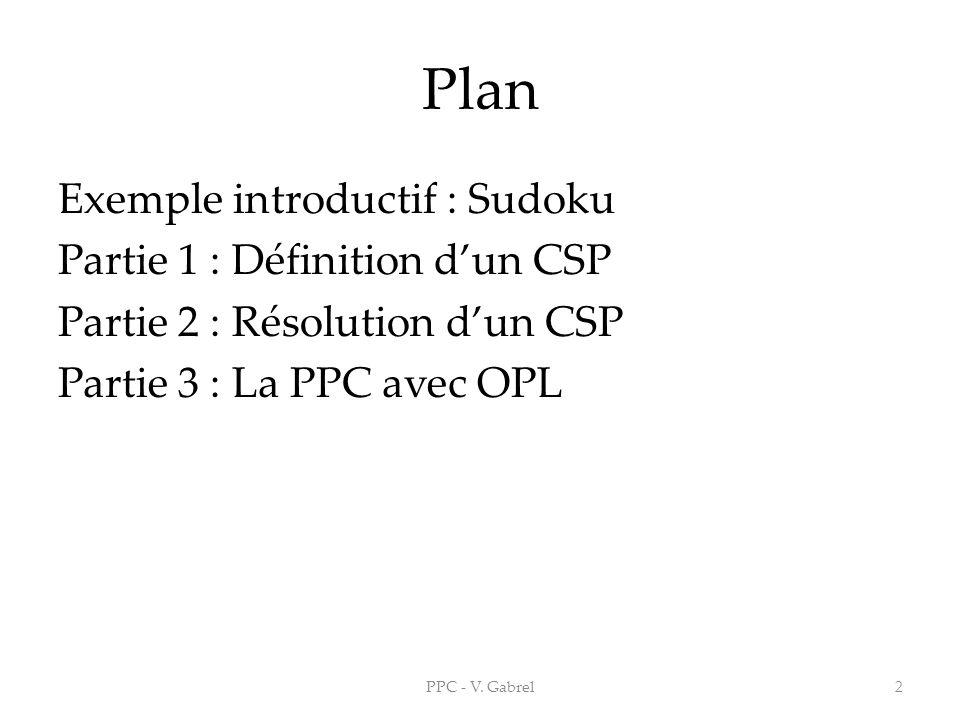 Plan Exemple introductif : Sudoku Partie 1 : Définition dun CSP Partie 2 : Résolution dun CSP Partie 3 : La PPC avec OPL PPC - V. Gabrel2