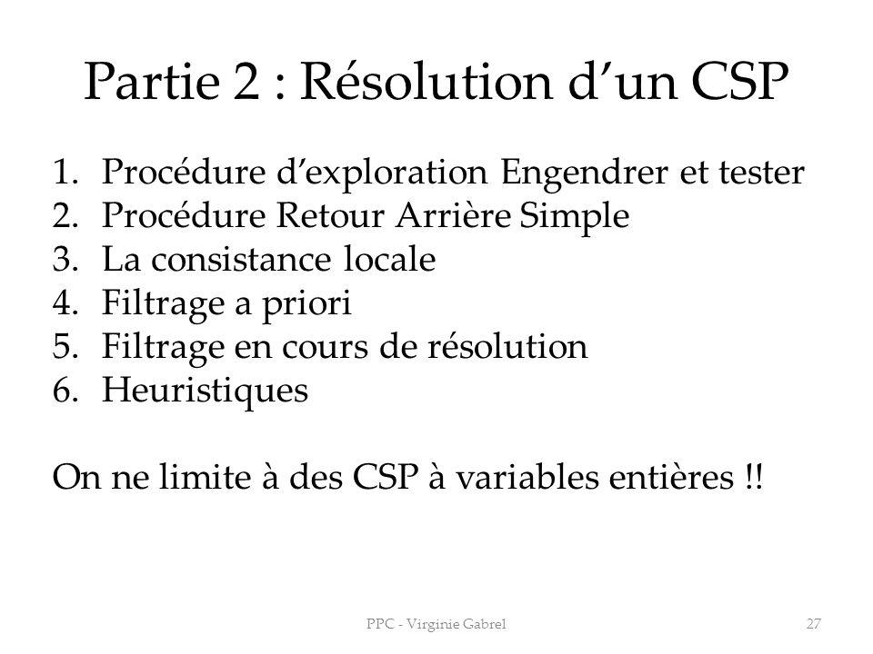 Partie 2 : Résolution dun CSP 1.Procédure dexploration Engendrer et tester 2.Procédure Retour Arrière Simple 3.La consistance locale 4.Filtrage a prio