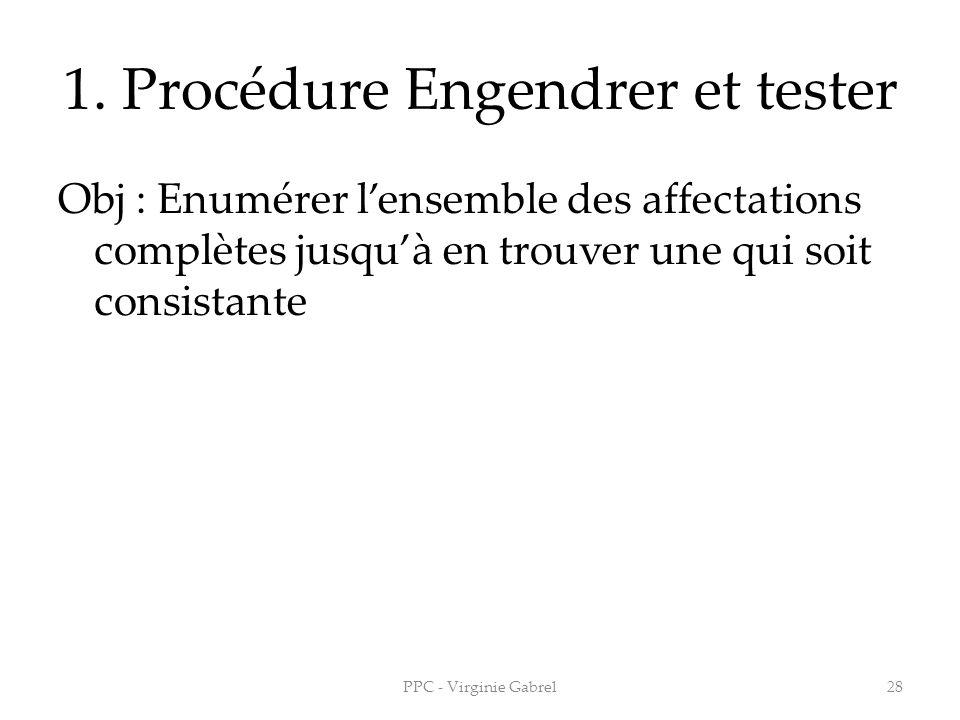 1. Procédure Engendrer et tester Obj : Enumérer lensemble des affectations complètes jusquà en trouver une qui soit consistante 28PPC - Virginie Gabre