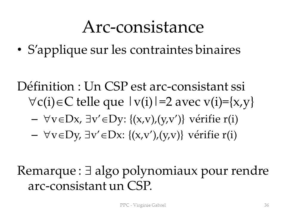 Arc-consistance Sapplique sur les contraintes binaires Définition : Un CSP est arc-consistant ssi c(i) C telle que |v(i)|=2 avec v(i)={x,y} – v Dx, v