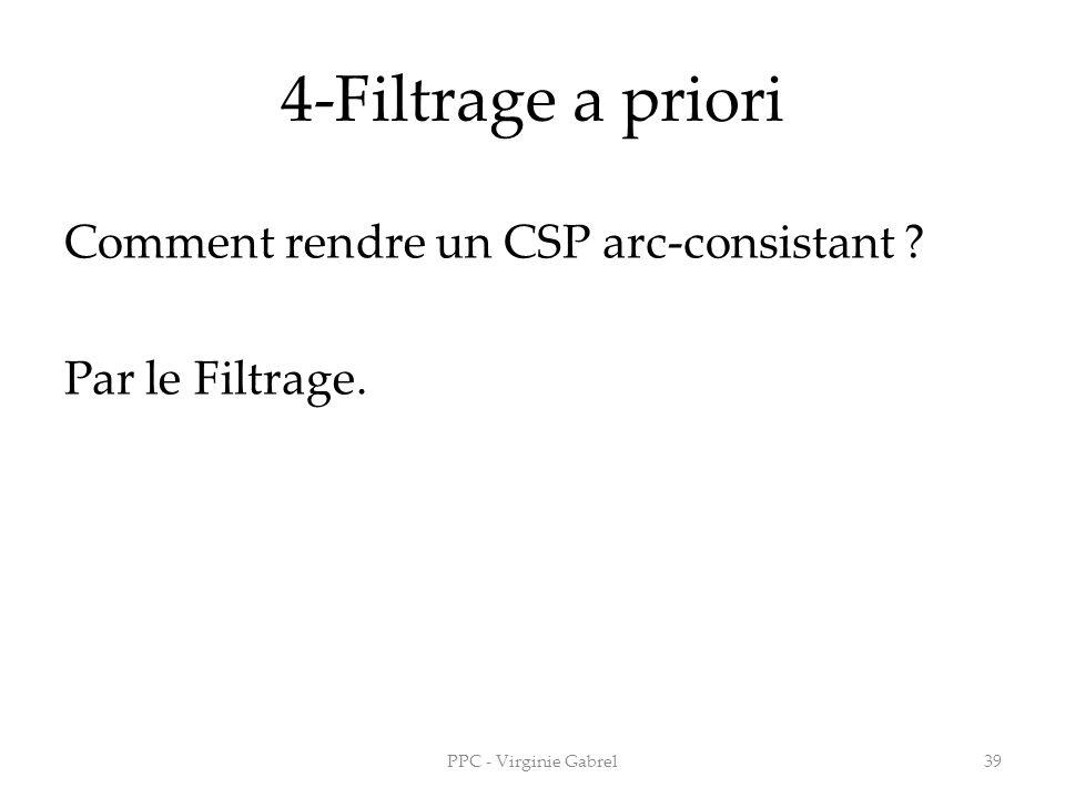 4-Filtrage a priori Comment rendre un CSP arc-consistant ? Par le Filtrage. PPC - Virginie Gabrel39