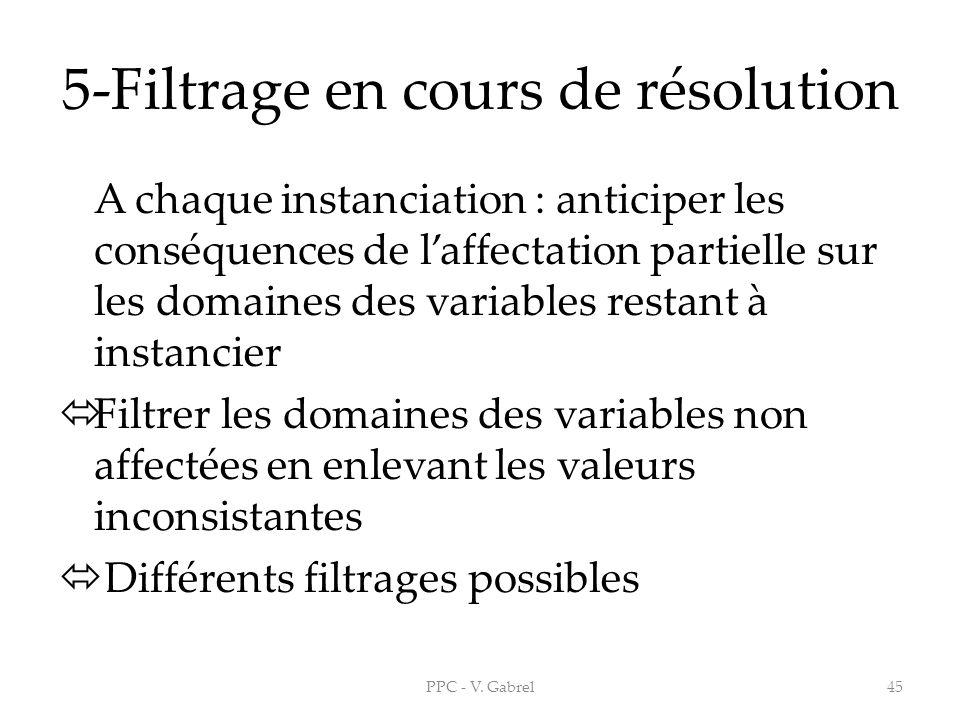 5-Filtrage en cours de résolution A chaque instanciation : anticiper les conséquences de laffectation partielle sur les domaines des variables restant