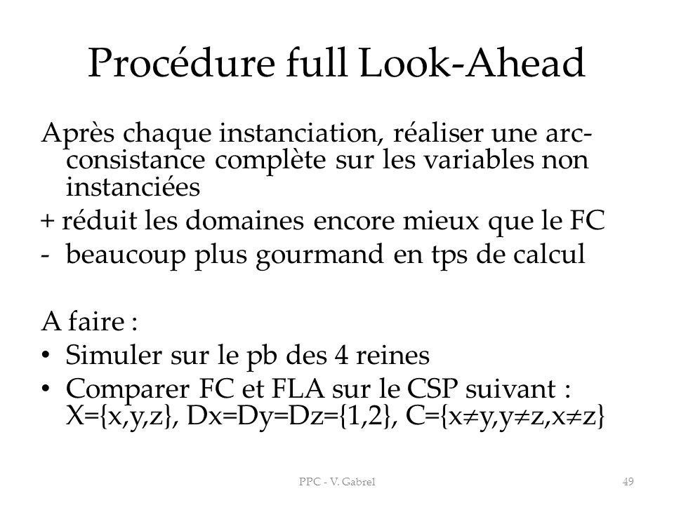 Procédure full Look-Ahead Après chaque instanciation, réaliser une arc- consistance complète sur les variables non instanciées + réduit les domaines e