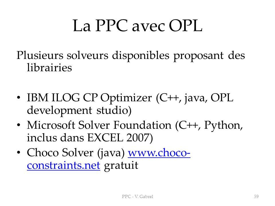 La PPC avec OPL Plusieurs solveurs disponibles proposant des librairies IBM ILOG CP Optimizer (C++, java, OPL development studio) Microsoft Solver Fou