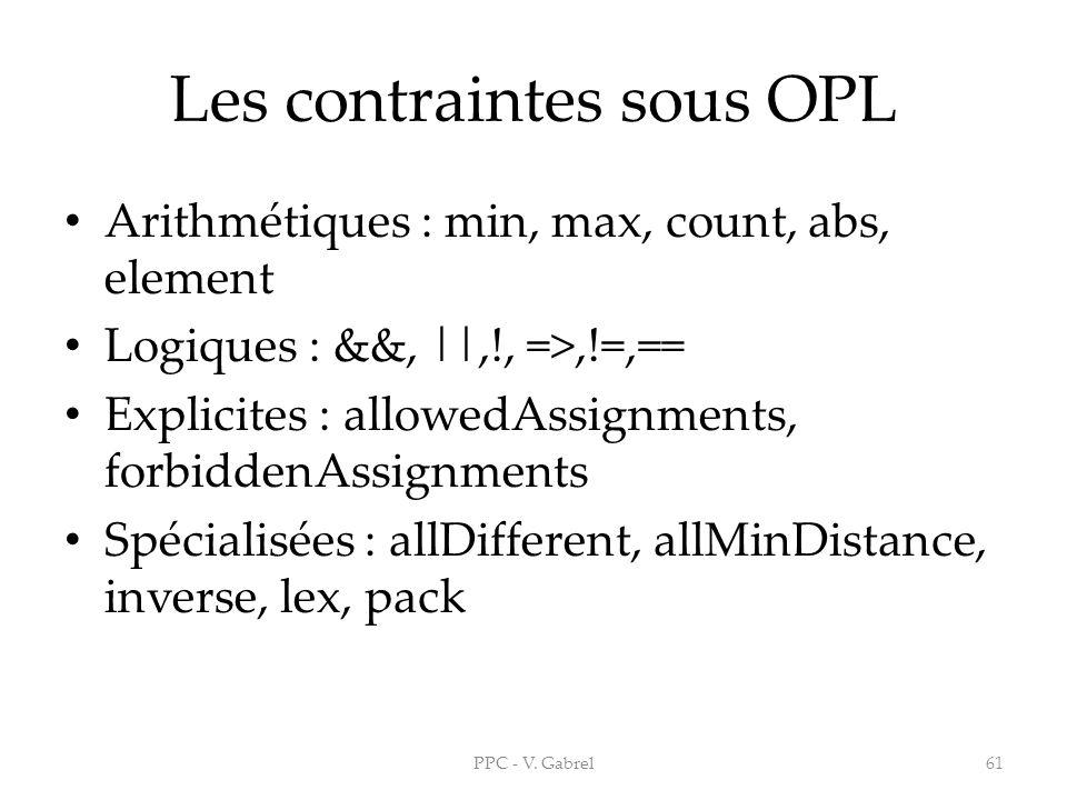 Les contraintes sous OPL Arithmétiques : min, max, count, abs, element Logiques : &&, ||,!, =>,!=,== Explicites : allowedAssignments, forbiddenAssignm