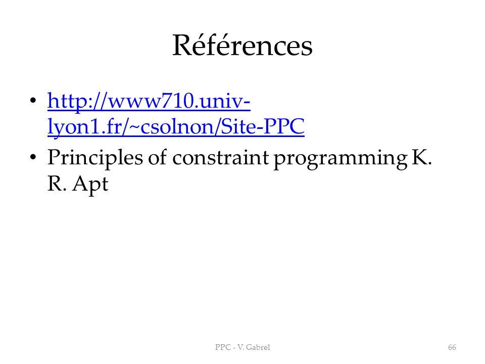 Références http://www710.univ- lyon1.fr/~csolnon/Site-PPC http://www710.univ- lyon1.fr/~csolnon/Site-PPC Principles of constraint programming K. R. Ap