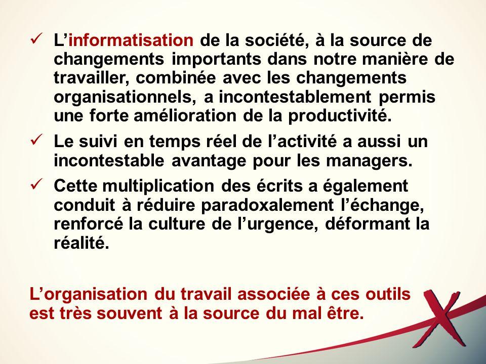 Linformatisation de la société, à la source de changements importants dans notre manière de travailler, combinée avec les changements organisationnels