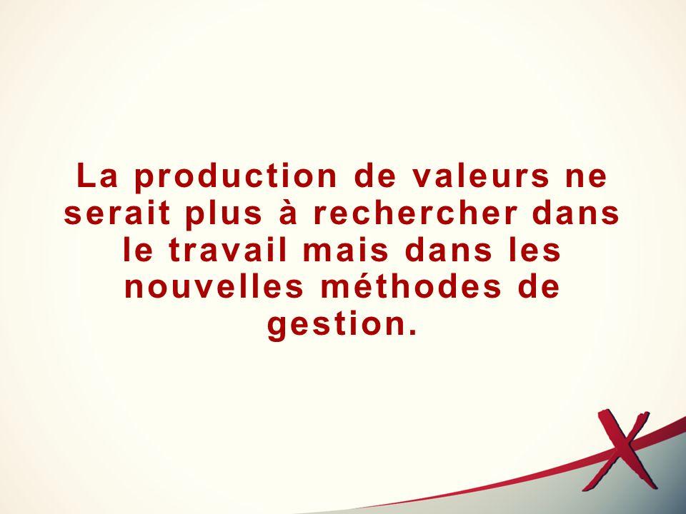 La production de valeurs ne serait plus à rechercher dans le travail mais dans les nouvelles méthodes de gestion.