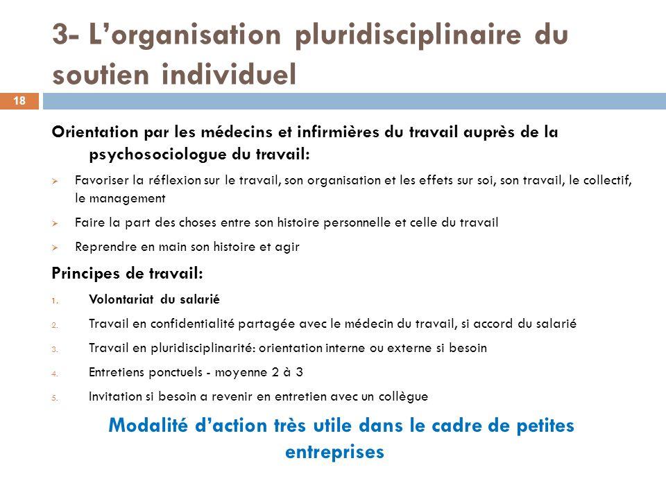 3- Lorganisation pluridisciplinaire du soutien individuel Orientation par les médecins et infirmières du travail auprès de la psychosociologue du trav