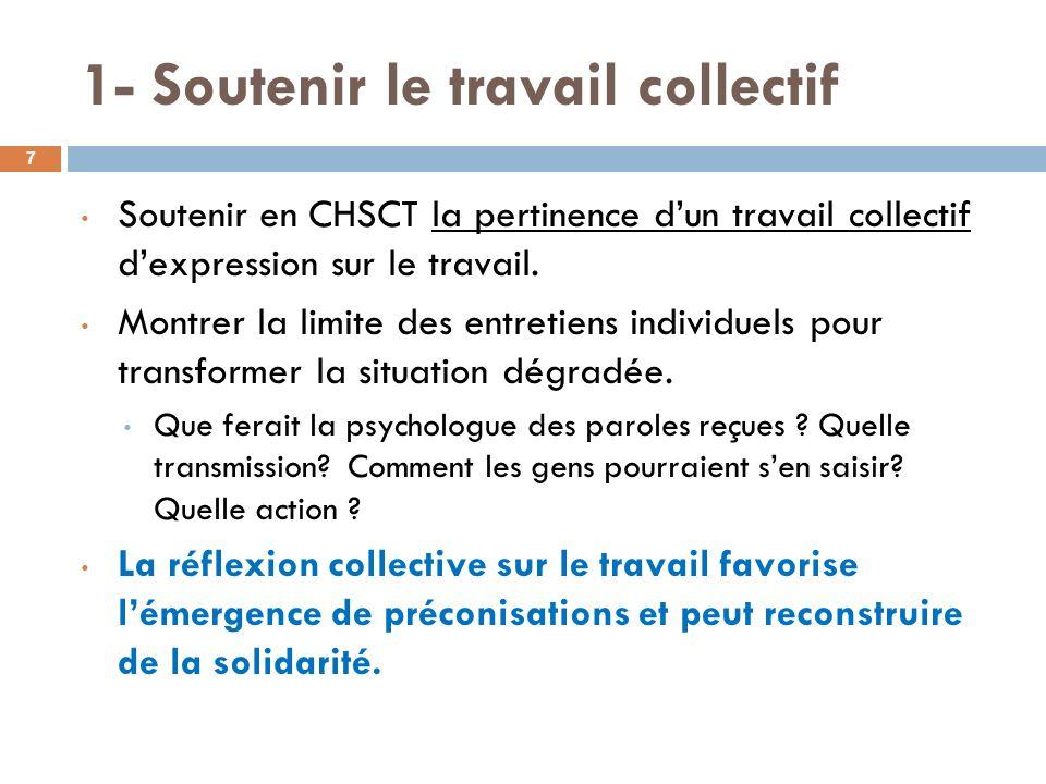 1- Soutenir le travail collectif Soutenir en CHSCT la pertinence dun travail collectif dexpression sur le travail. Montrer la limite des entretiens in