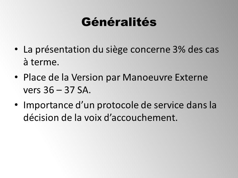 Généralités La présentation du siège concerne 3% des cas à terme. Place de la Version par Manoeuvre Externe vers 36 – 37 SA. Importance dun protocole