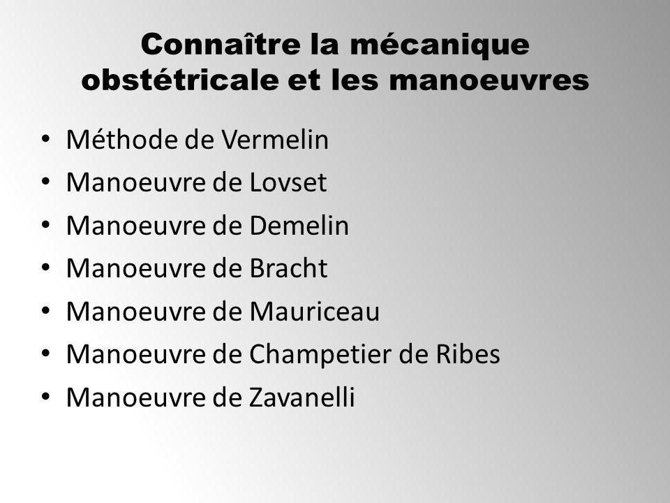Connaître la mécanique obstétricale et les manoeuvres Méthode de Vermelin Manoeuvre de Lovset Manoeuvre de Demelin Manoeuvre de Bracht Manoeuvre de Ma