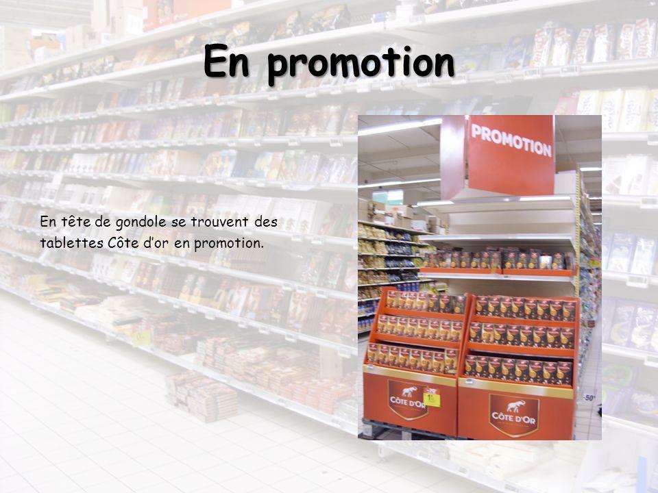 En promotion En tête de gondole se trouvent des tablettes Côte dor en promotion.