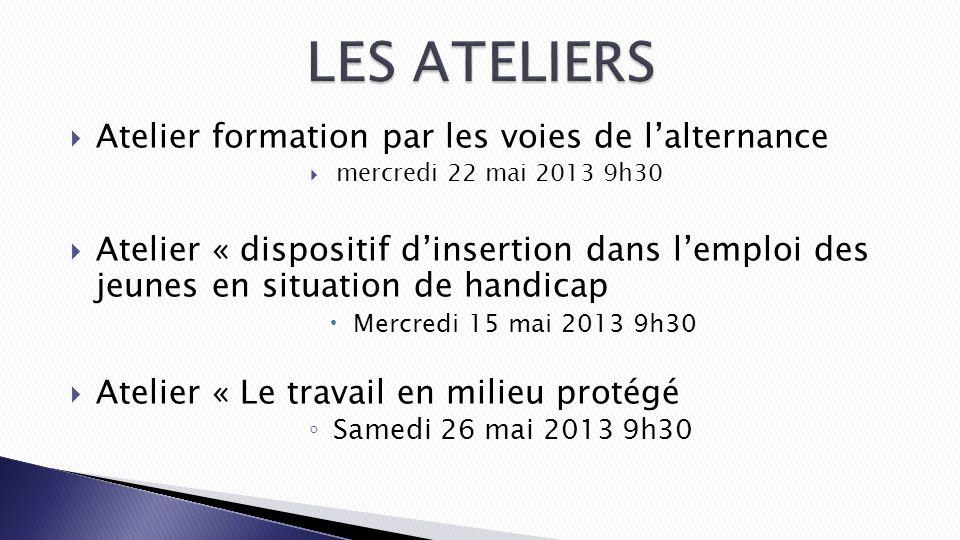 Atelier formation par les voies de lalternance mercredi 22 mai 2013 9h30 Atelier « dispositif dinsertion dans lemploi des jeunes en situation de handi