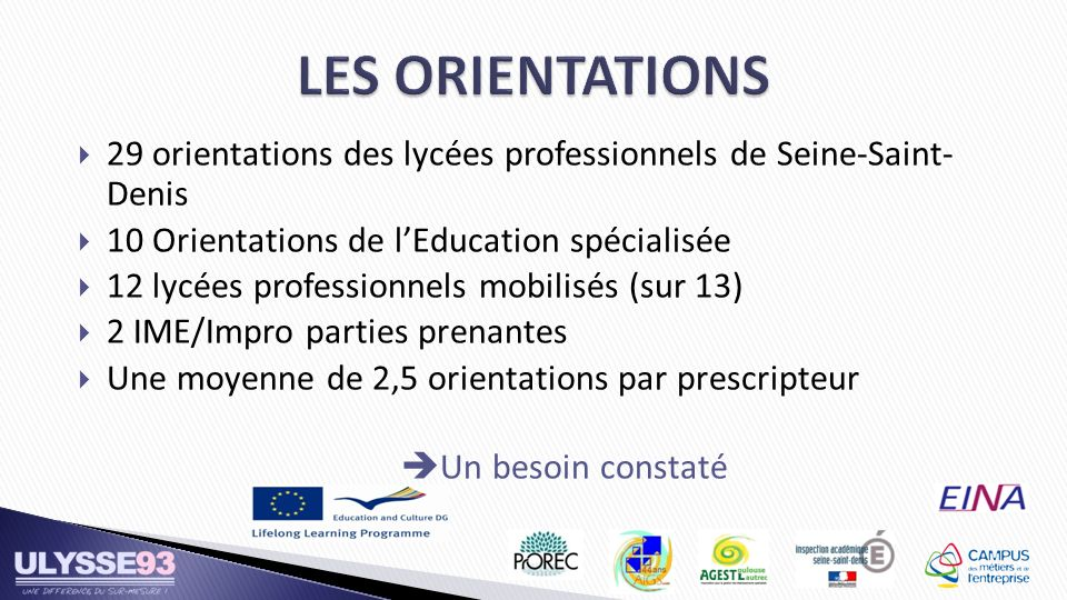 29 orientations des lycées professionnels de Seine-Saint- Denis 10 Orientations de lEducation spécialisée 12 lycées professionnels mobilisés (sur 13)