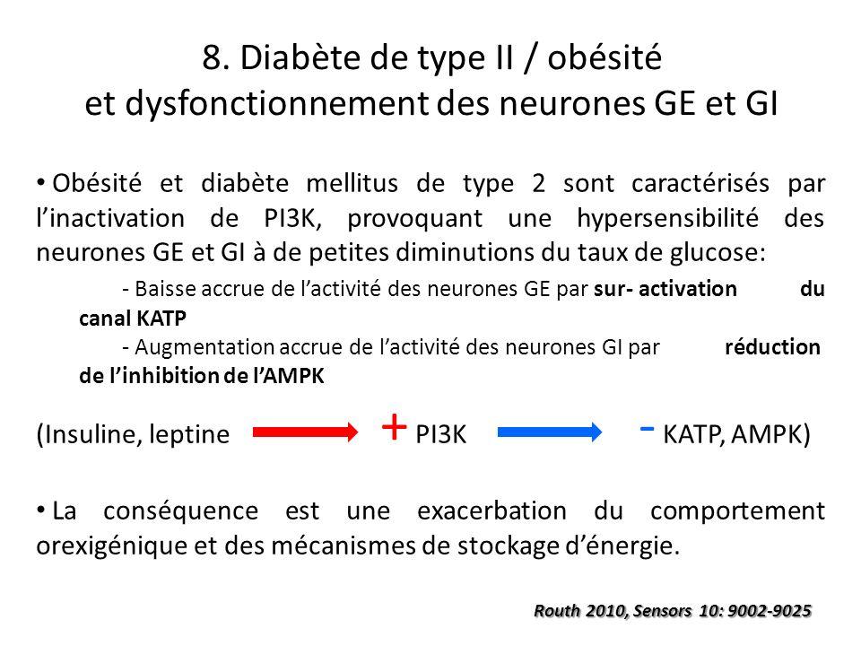 8. Diabète de type II / obésité et dysfonctionnement des neurones GE et GI Obésité et diabète mellitus de type 2 sont caractérisés par linactivation d
