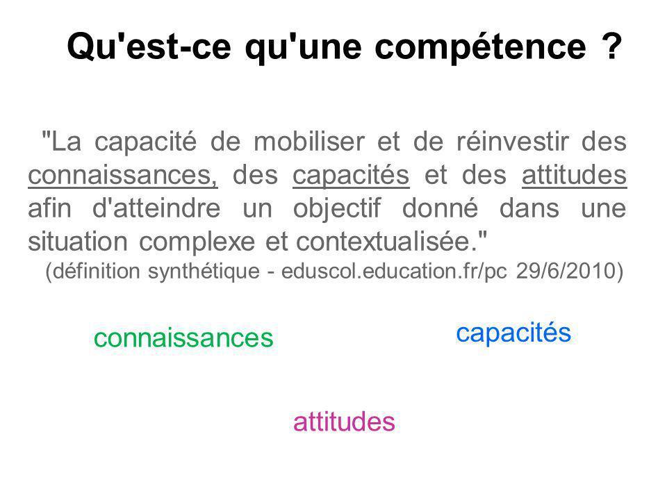 Qu'est-ce qu'une compétence ?