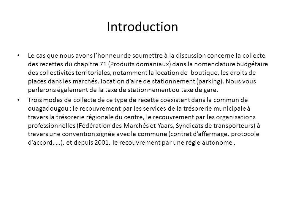 Introduction Le cas que nous avons lhonneur de soumettre à la discussion concerne la collecte des recettes du chapitre 71 (Produits domaniaux) dans la