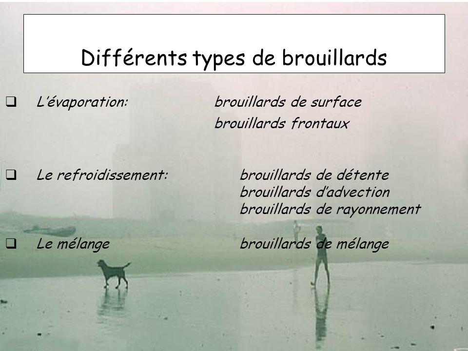 Différents types de brouillards Lévaporation: brouillards de surface brouillards frontaux Le refroidissement:brouillards de détente brouillards dadvec
