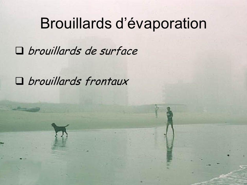 Brouillards dévaporation brouillards de surface brouillards frontaux