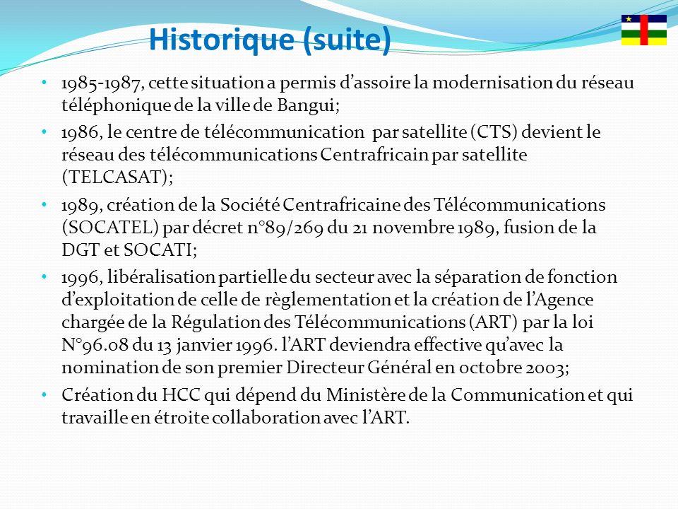 Etat de lieux des services de Télécoms/TIC Cinq opérateurs (4 mobiles et 1 fixe) se partagent le secteur des Télécommunications/TIC et de lInternet en République Centrafricaine: Télé densité nationale est de 28,57% dont: Télé densité fixe: 0.1% (4.700 abonnés dont 51% résidentiels) Télé densité mobile: 28,47%(+ de 1.2 millions abonnés pour les 4 opérateurs) 70% de lignes à Bangui et 14% dans larrières pays 19,17% Sous préfectures couvertes avec une faible portée de 7kms Le pays compte 24 VSAT des opérateurs et la politique de mutualisation des infrastructures est timidement exploitée par les opérateurs; 4 hubs dont 1 par opérateur
